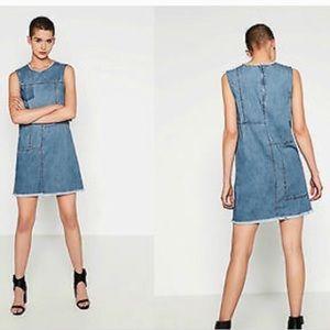 Zara Denim Faded Raw Edged Fringe Hem Shift Dress